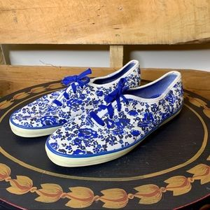 Keds | Blue & White Floral Sneakers